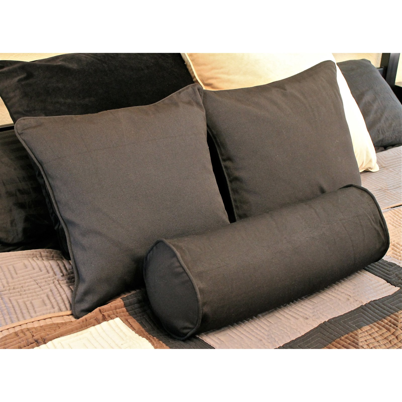 Blazing Needles Set of 3 - 18 in. Solid Pillows with Bolster Package