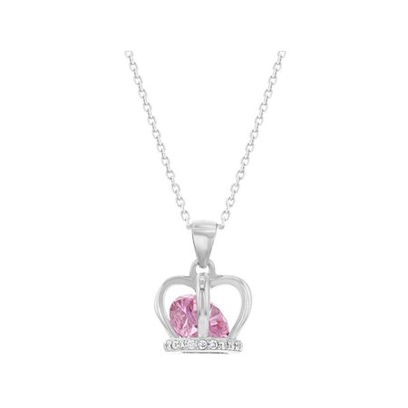 925 Sterling Silver Pink CZ Crown Pendant Necklace for Girls Kids Teens 16