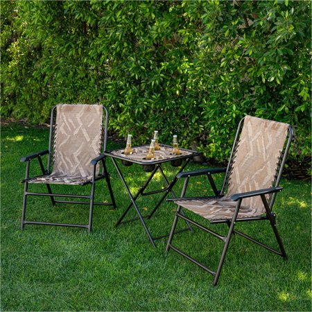 Hanover Elkhorn 3-Piece Camo Suspension Set featuring 2 Folding Lawn Chairs and Folding Side Table ()