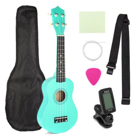 21'' Basswood Ukulele Musical Instrument Beginner Kit with Carring Bag, Strap, Picks, Cloth, Clip-On Tuner, Extra String (Car Picking Kit)