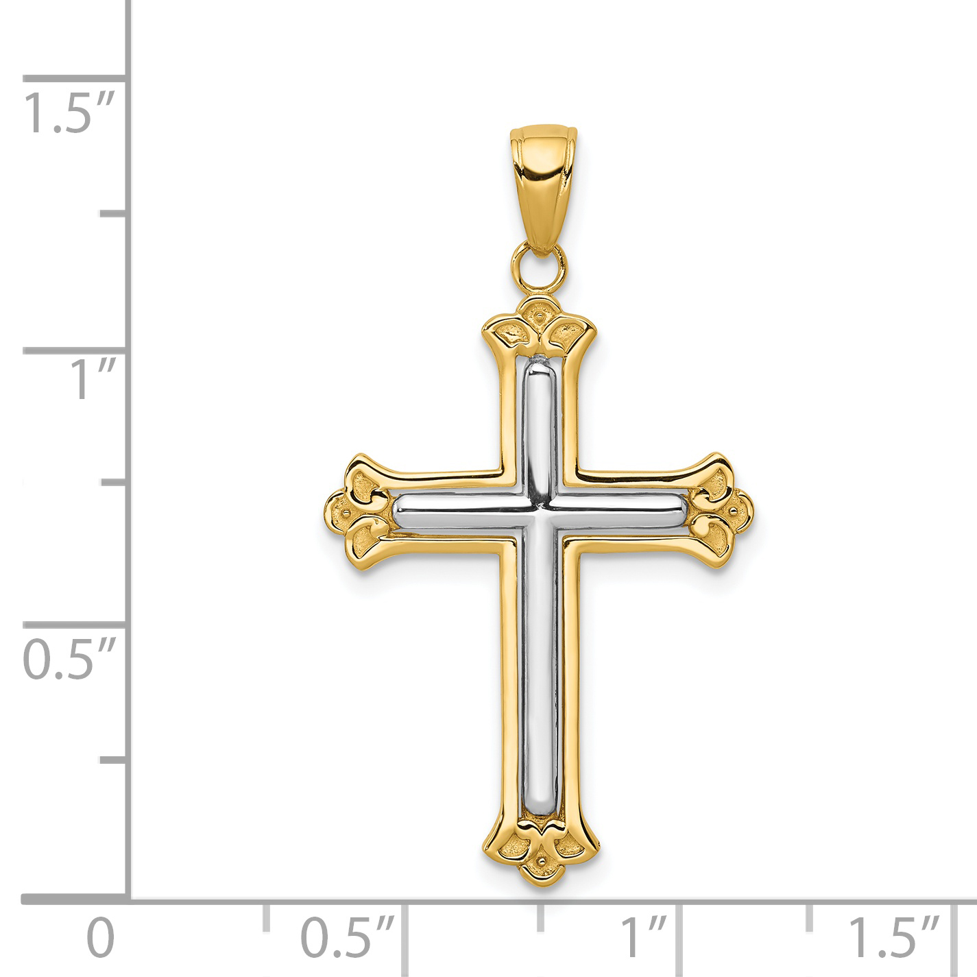14k Two Tone Yellow Gold White Cross Religious In Budded Frame Pendant Charm Necklace Fleur De Lis Fine Jewelry Gifts For Women For Her - image 1 of 2