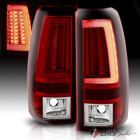 2003 2006 Silverado Sierra Red Clear Led Tail Lights W Fiber Optic Tube Led Signal 2004 2005 Pair L R