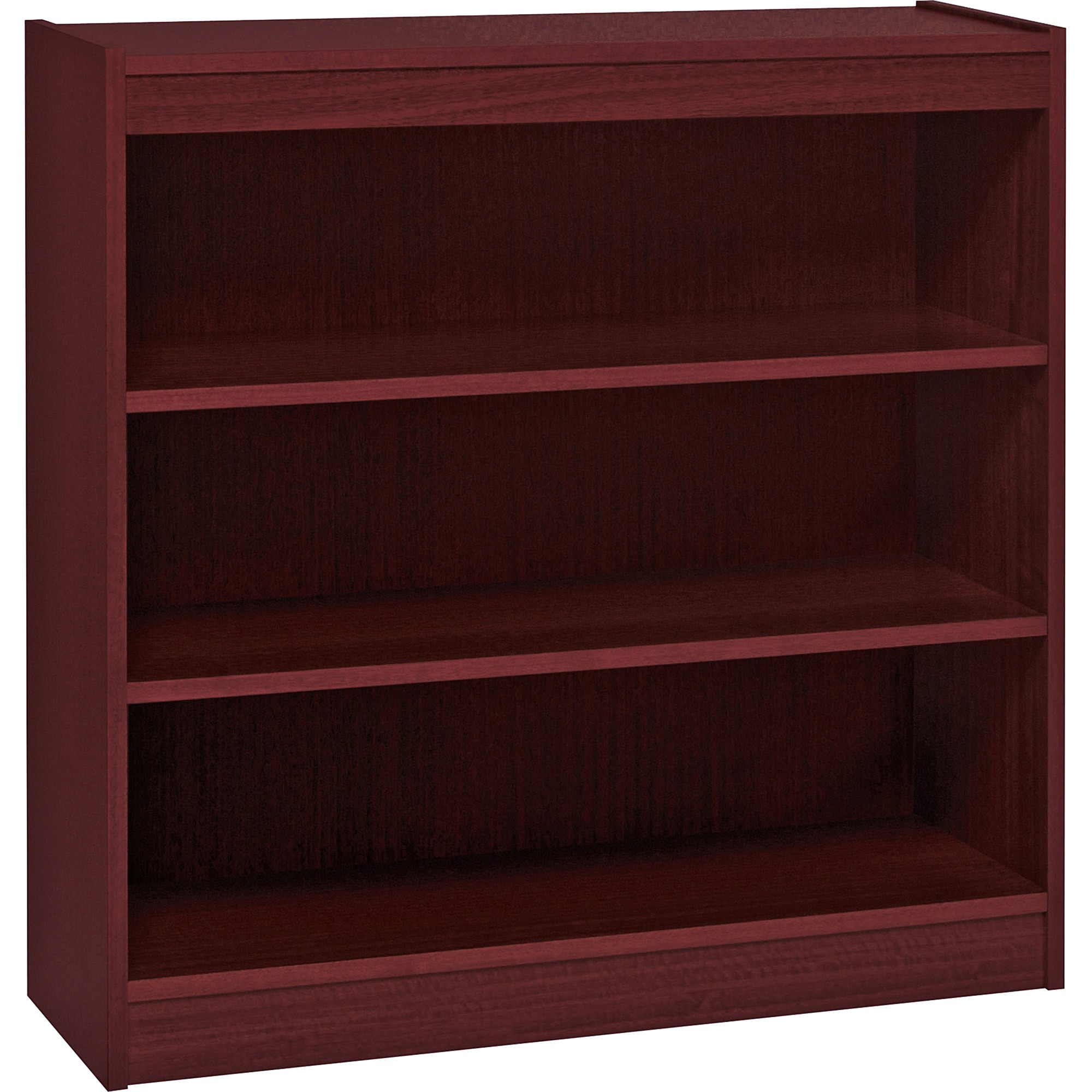 Lorell, LLR60071, Panel End Hardwood Veneer Bookcase, 1 Each, Mahogany