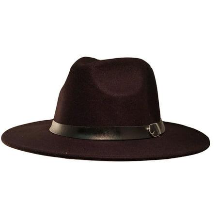 Black Mens Deluxe Felt Trilby Western Mobster Cowboy Gangster Costume Accessory (Black Ganster)