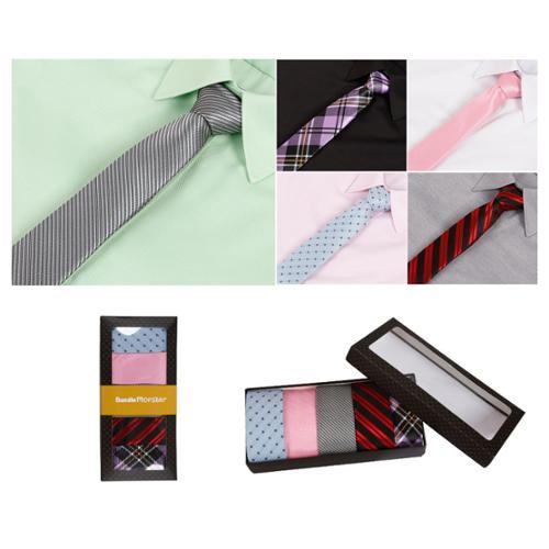 Bundle Monster Mens Fashion Business Solid Woven Stripe Necktie Tie - Set 6