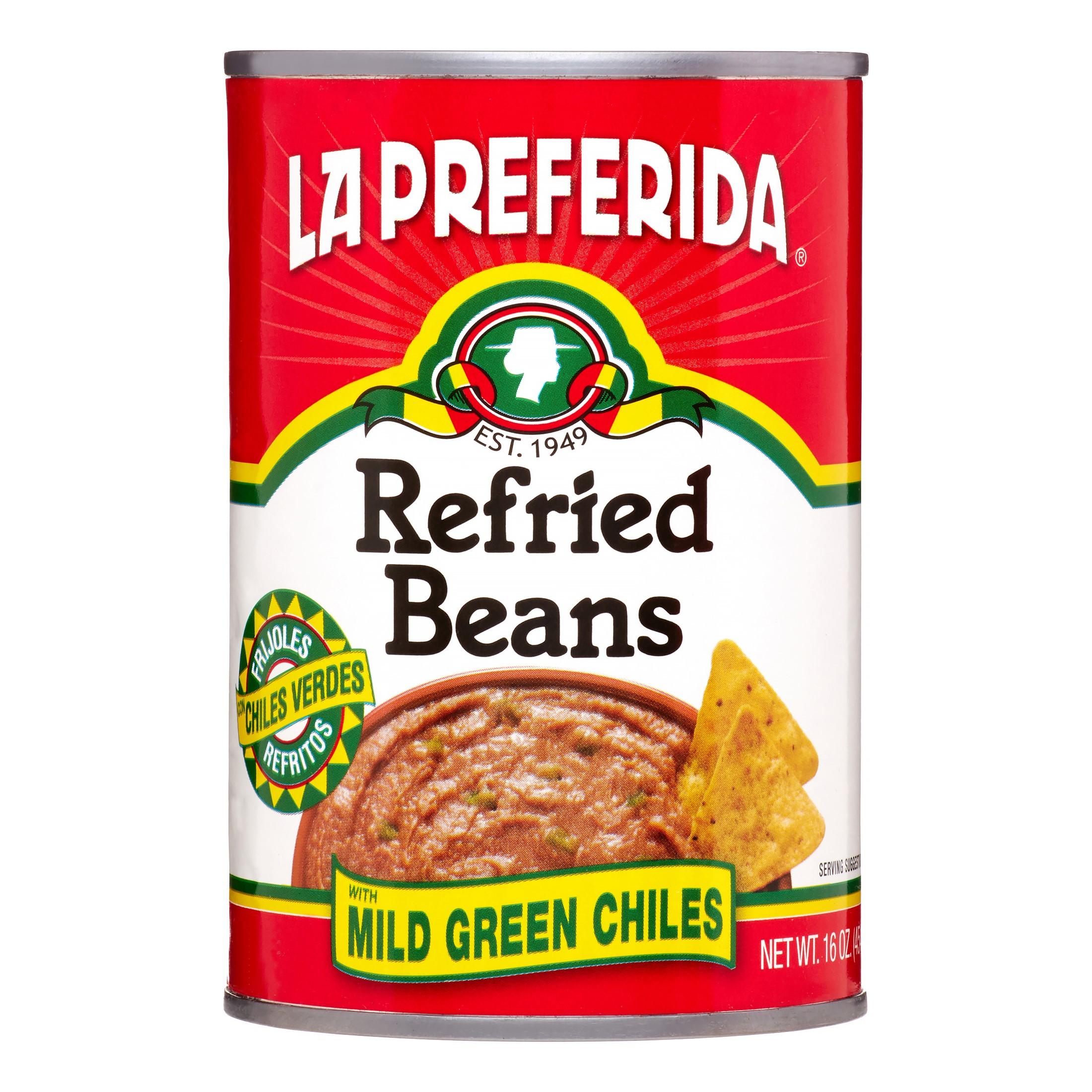 La Preferida Refried Beans With Mild Green Chiles, 16 oz