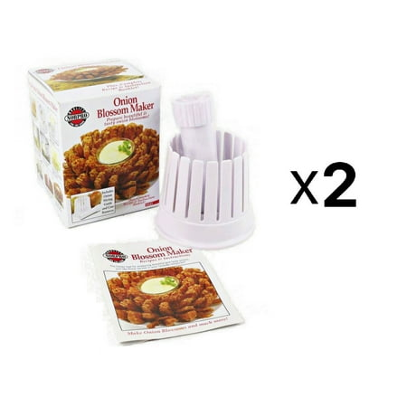 Blooming Onion Blossom Maker, White, Fry Slicer & Core Remover (2-Pack), Measures: 5.25 x 4.25 x 4.25 / 13.5cm x 11cm x 11cm By Norpro (Blooming Onion Cutter)