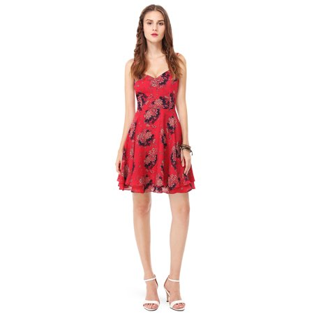Ever-Pretty Womens Short A-Line Cross Back Floral Boho Summer Beach Wedding Guest Party Cocktail Date Night Dresses for Women 05606 Red US 4