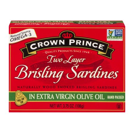 (3 Pack) Crown Prince Two Layer Brisling Sardines in Olive Oil, 3.75