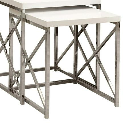 Monarch Nesting Table 2Pcs Set / Glossy White / Chrome Metal Contemporary Metal Nesting Tables