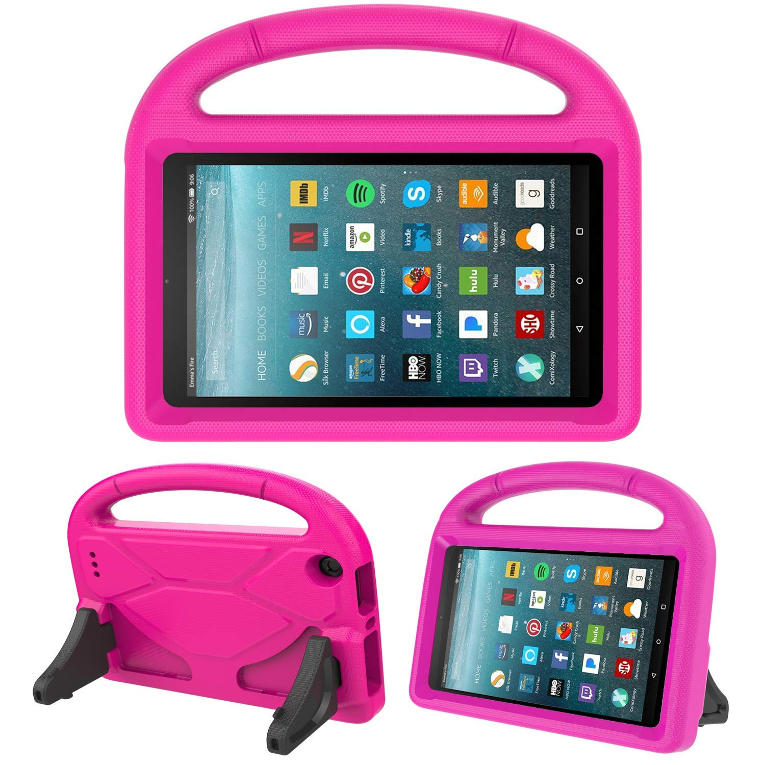 Kids Case for New Fire 7inch - Allytech Light Weight Shock Proof Handle Kid Proof Cover Child Case for Amazon Fire 7 Tablet (5th Generation, 2015 Release and 7th Generation, 2017 Release) - Rose