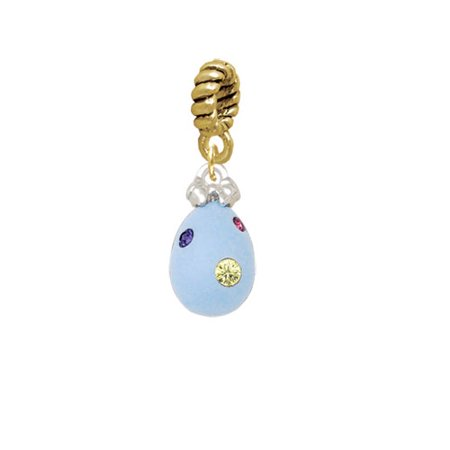 Light Blue Easter Egg with Multicolored Crystal Dots - Gold Tone Rope Charm Bead