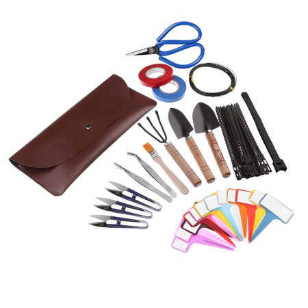 SWISSELITE 60 Pieces Bonsai Tools with Leather Case,Wooden Rake,Long&Wide Spades,Scissors,Tweezers,Bonsai Training Wire,Cable Ties,Velcro,Garden Tape,Tags,Brush,Bonsai Tools Accessories