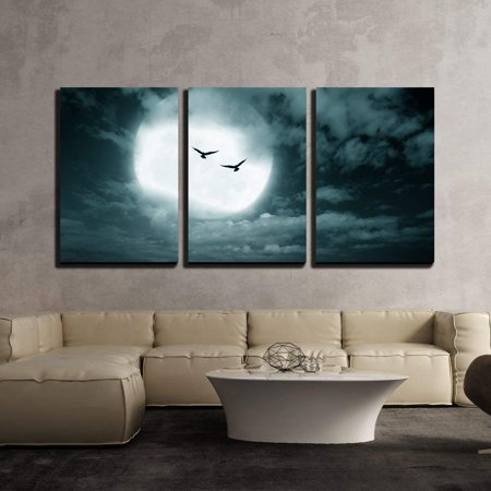 wall26 - 3 Piece Canvas Wall Art - Halloween Background, Full Moon and Sky, Dark Style. - Modern Home Decor Stretched and Framed Ready to Hang - 24