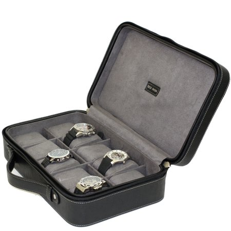 Watch Case- 10 Timepieces Briefcase Design in Leather Black with Contasting Stitching and - Steinhausen Swiss Design