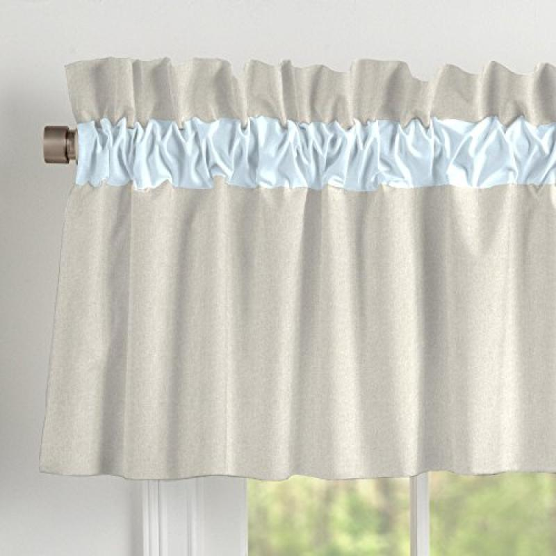 Carousel Light Blue Linen Window Valance Rod Pocket