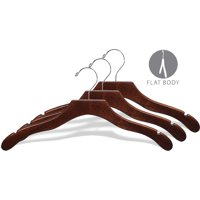 Wavy Wood Top Hanger, Box of 100 Space Saving 17 Inch Wooden Hangers w/ Walnut Finish & Chrome Swivel Hook & Notches for Shirt Jacket or Dress by International Hanger