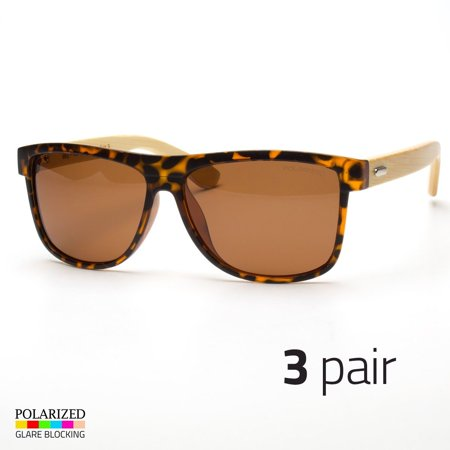 3 PAIR Bamboo Sunglasses Wooden Wood Mens Women Vintage Polarized Glasses (Vintage Wayfarers)