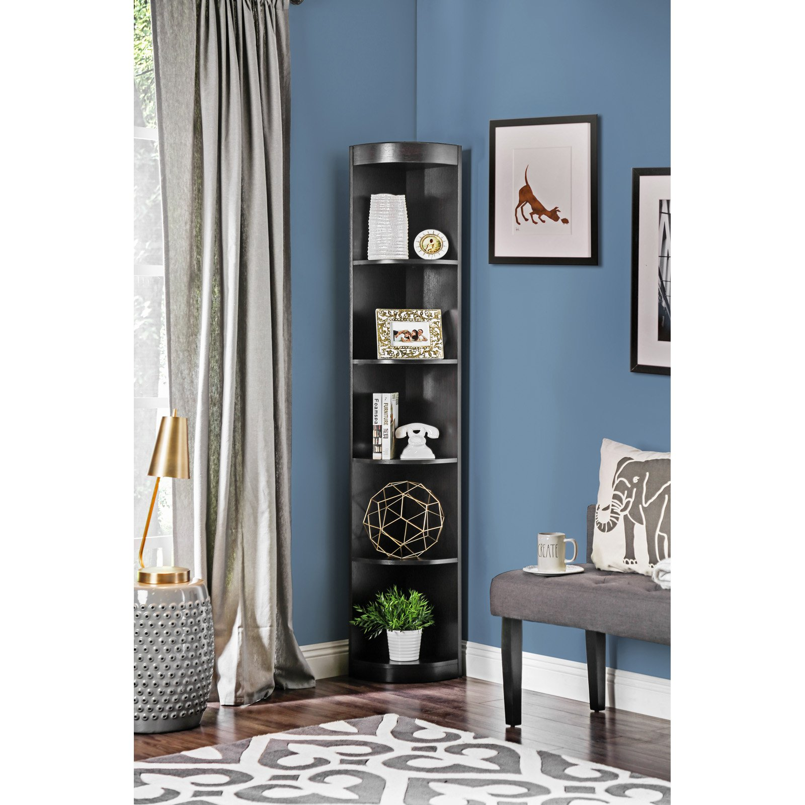 Furniture of America Corner 5-shelf Display Stand Bookshelf by Urbal Furnishings