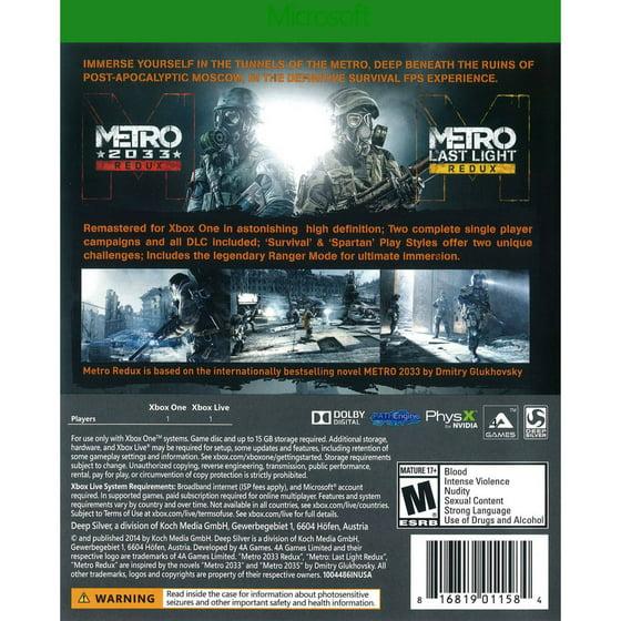 Metro Redux, Square Enix, Xbox One, 816819011584