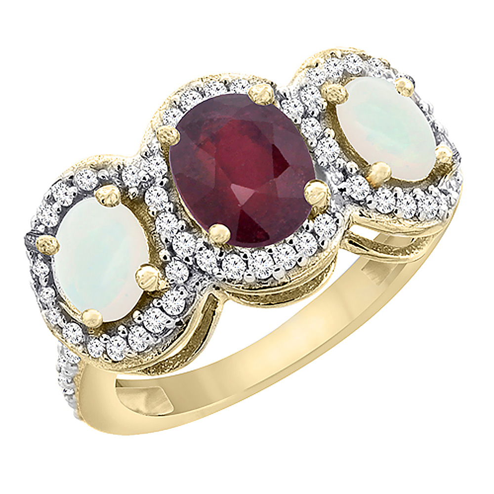 14K Yellow Gold Natural HQ Ruby & Opal 3-Stone Ring Oval ...