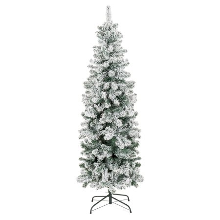 Best Choice Products 6ft Snow Flocked Artificial Pencil Christmas Tree Holiday Decoration w/ Metal Stand - Green - Affordable Christmas Decorations
