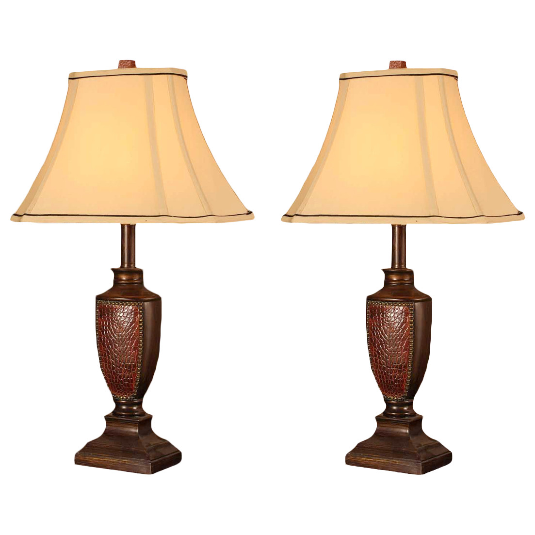 Aubri Table Lamp Set, Brush Red Body & Light Brown Fabric Square Shade, Contemporary, (Set Of 2)