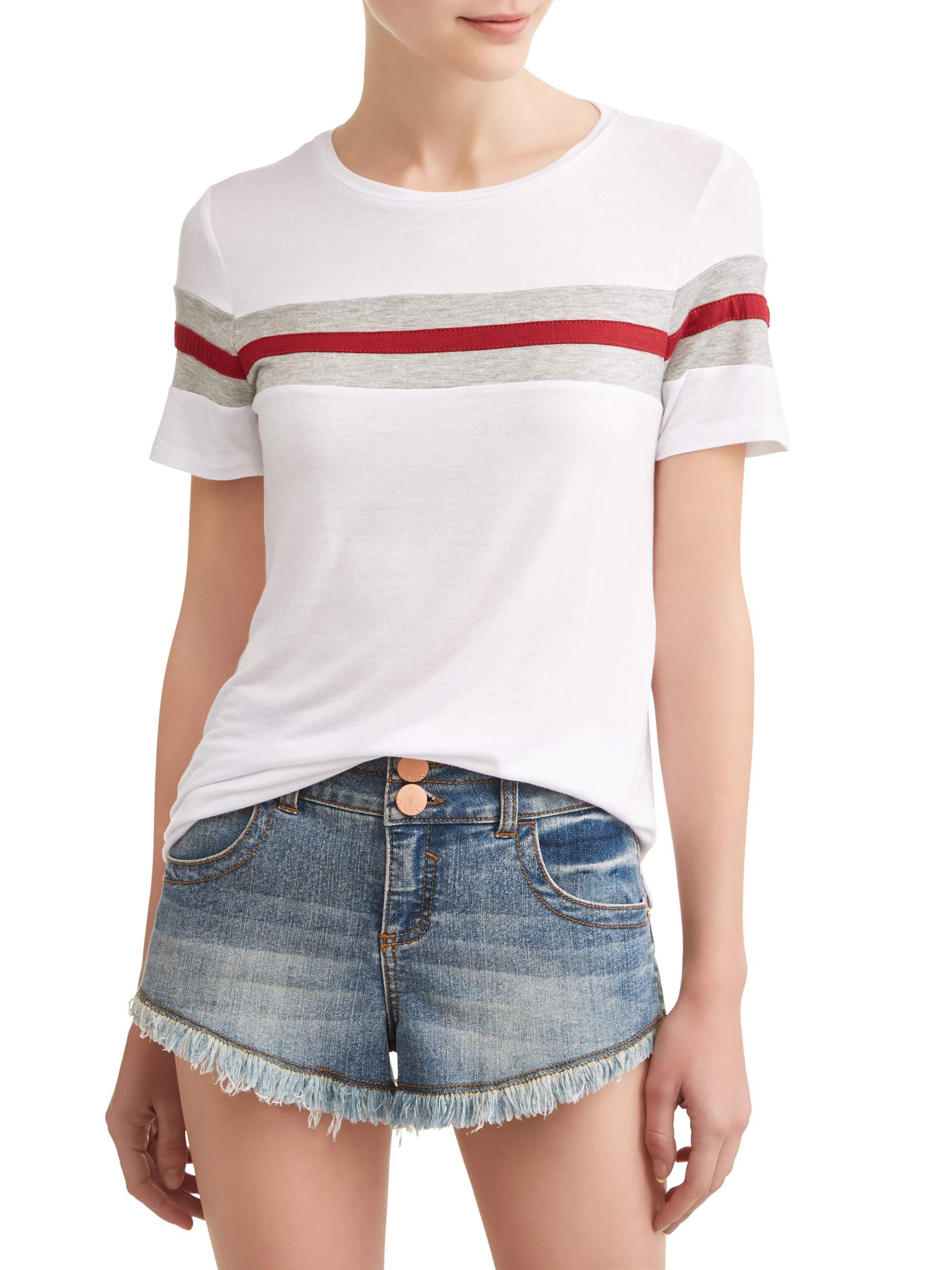 Juniors' Colorblock Stripe Short Sleeve T-Shirt
