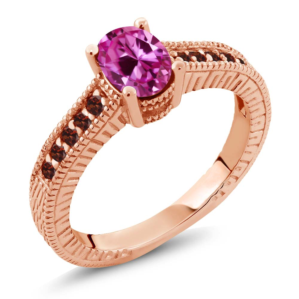 1.40 Ct Oval Pink Created Sapphire Red Garnet 18K Rose Gold Engagement Ring by