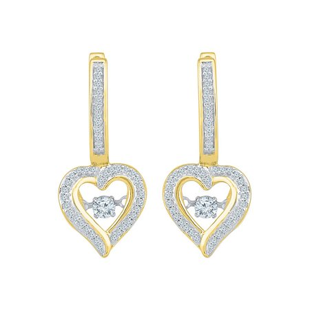 10kt Yellow Gold Womens Round Diamond Heart Dangle Hoop Earrings 1/4 Cttw - image 1 of 1