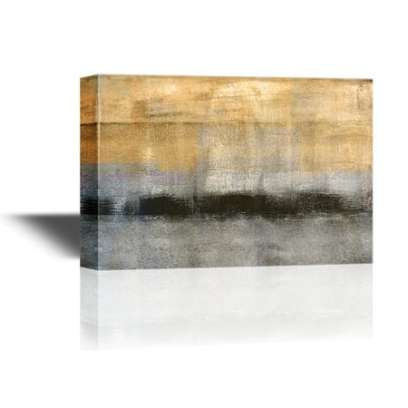 wall26 - Canvas Wall Art - Abstract Landscape with Golden Black and Grey Color - Gallery Wrap Modern Home Decor | Ready to Hang - 24x36 inches