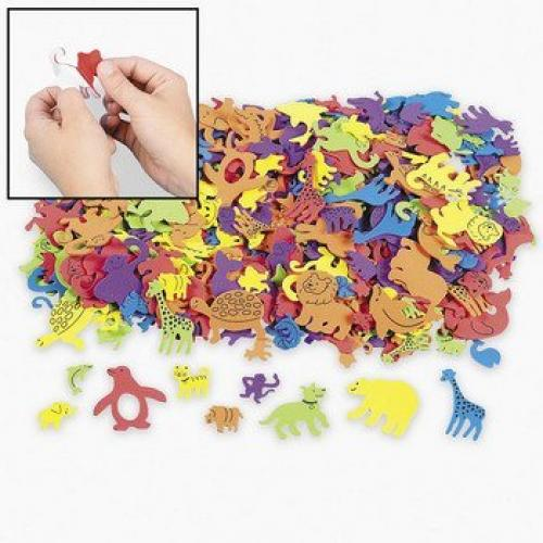Fun Express Foam Self-Adhesive Animal Shapes (500 Piece)