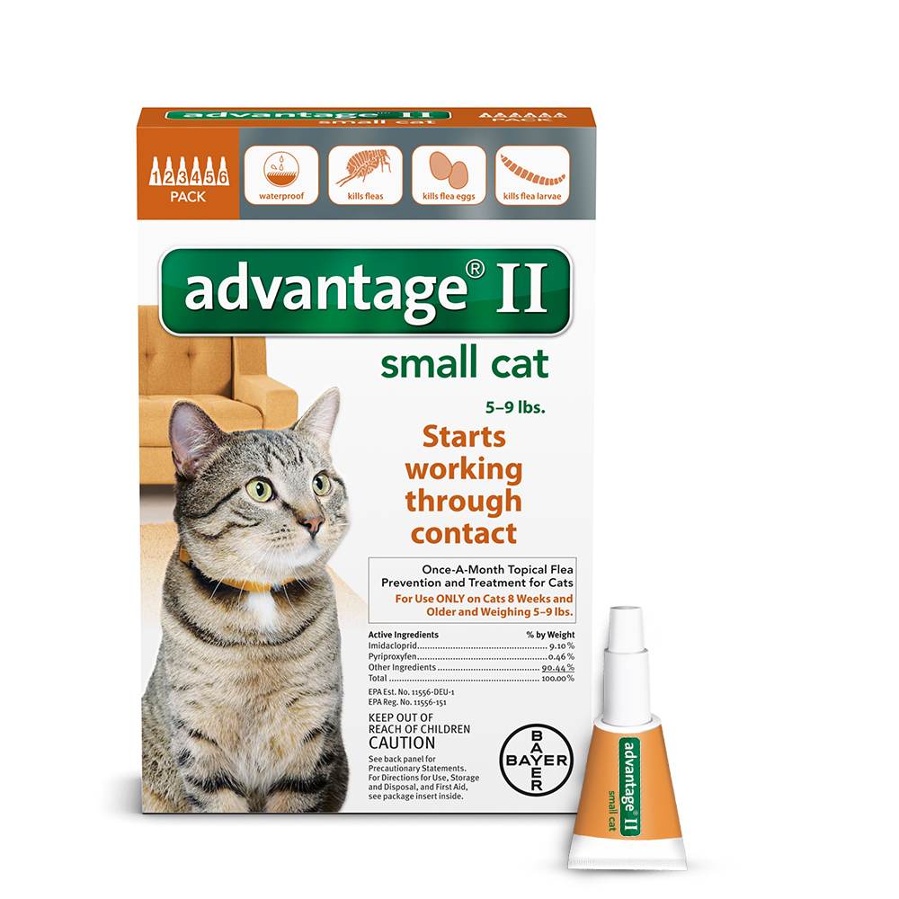Advantage II Flea & Tick Topical Treatment for Small Cats, 6 Monthly Treatments by Bayer Animal Health