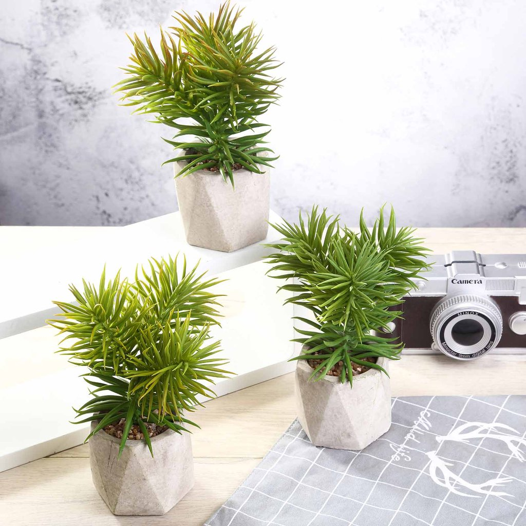 "Efavormart Set of 3 | 8"" Assorted Spiky Crassula Artificial Faux Succulent Mini Green Plants in Cement Pot"