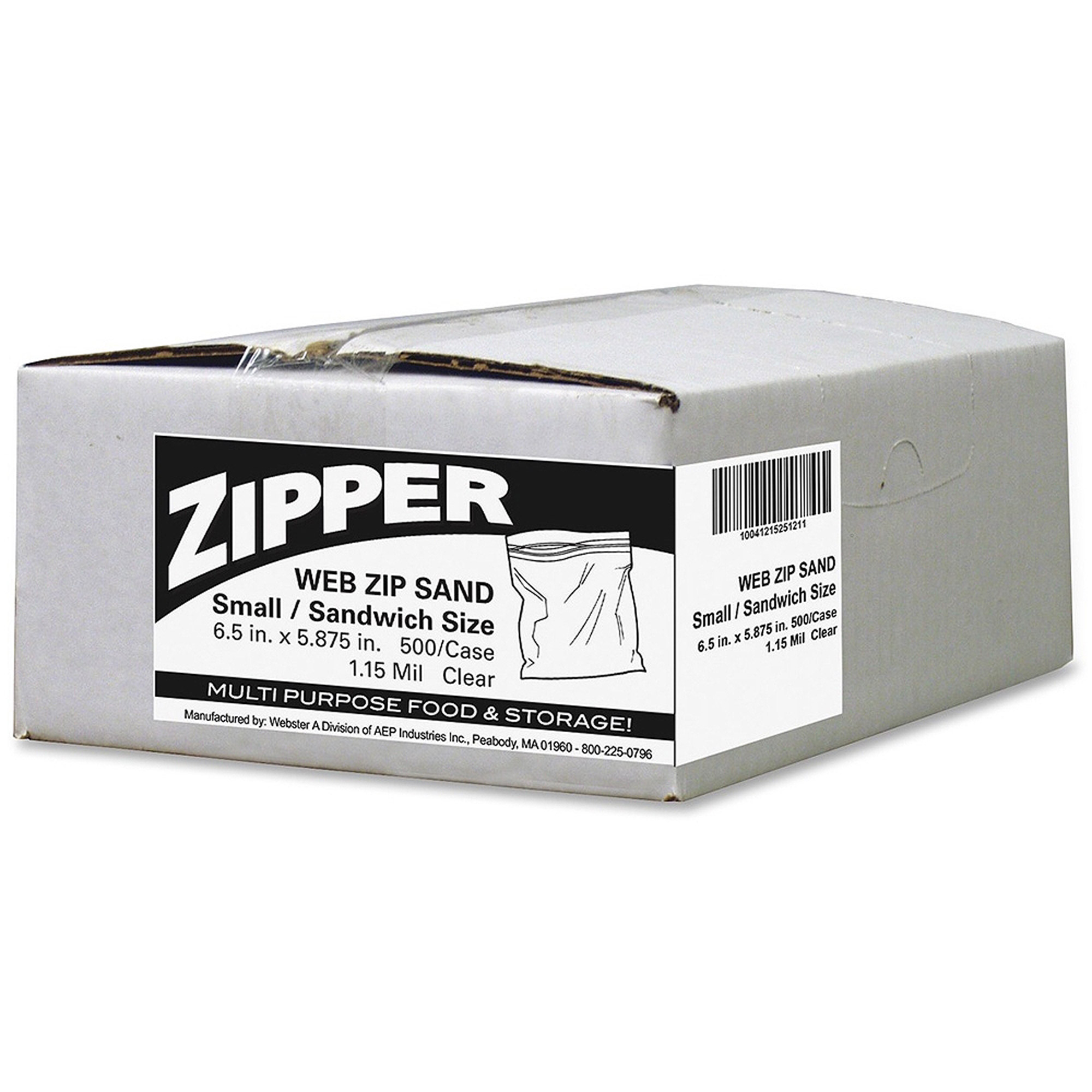 Webster Zipper Sandwich Size Storage Bags, 500 count