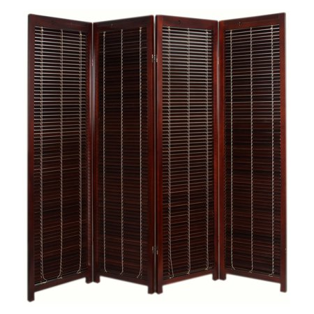 Tranquility Wooden Shutter Screen Room Divider - 4 Panel - Walnut ()