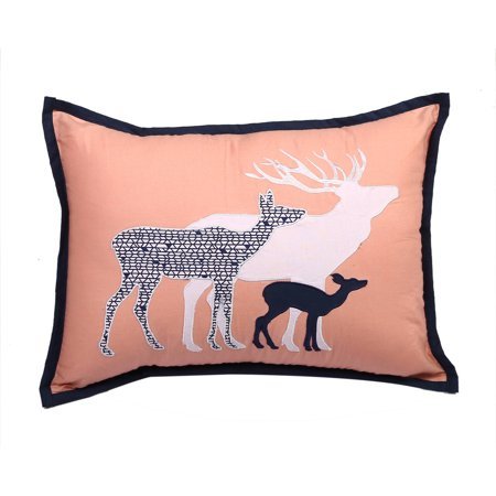 Bacati - Tribal Deer Family Dec Pillow 12 x 16 inches with removable 100% Cotton cover and polyfilled pillow insert, Coral/Navy
