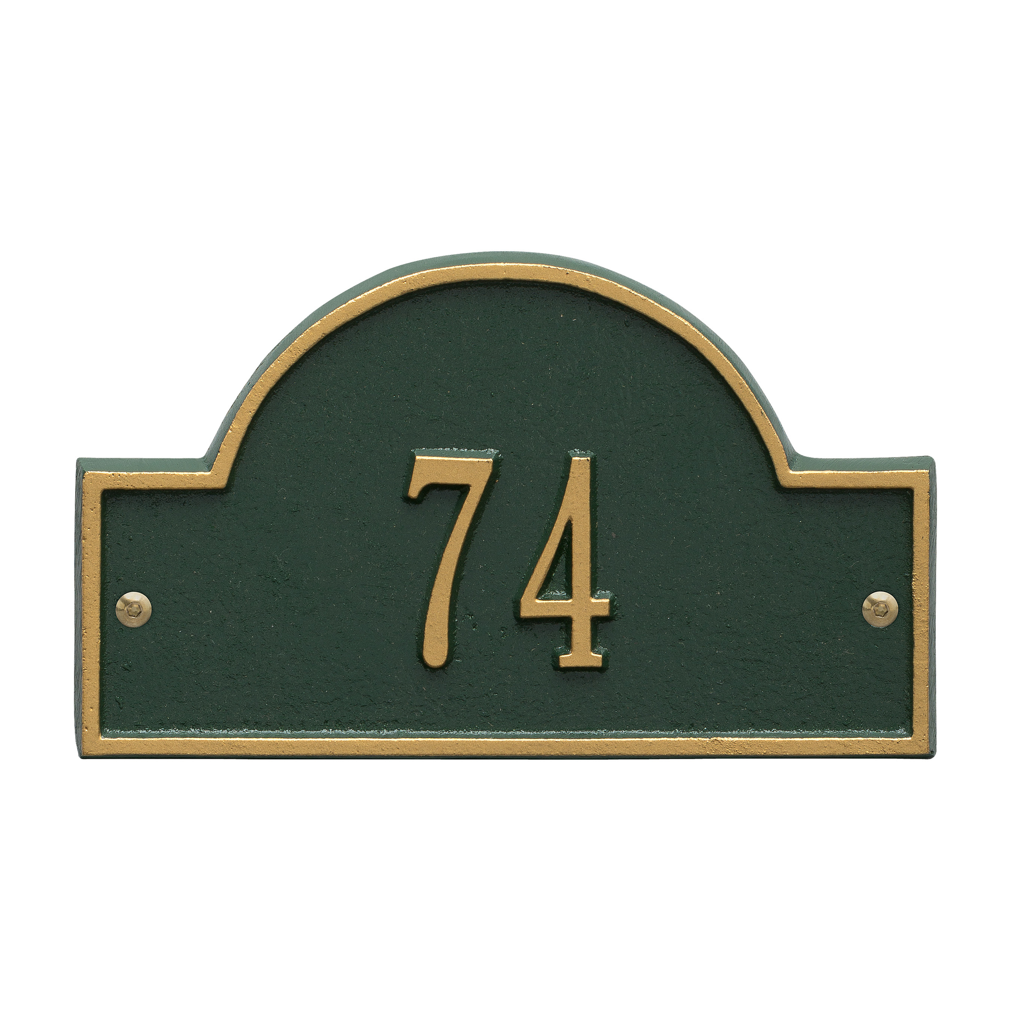 Personalized Whitehall Products Petite One-Line Arch Marker Address Plaque in Green Gold by Whitehall
