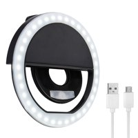 TSV Rechargeable Beauty Selfie Light Ring Photo Shoot Selfie Night Light 40 LED Lights Fit For iPhones Samsung Camera, Clip-on Selfie Fill Ring Light LED Circle Light with 3 Brightness Modes
