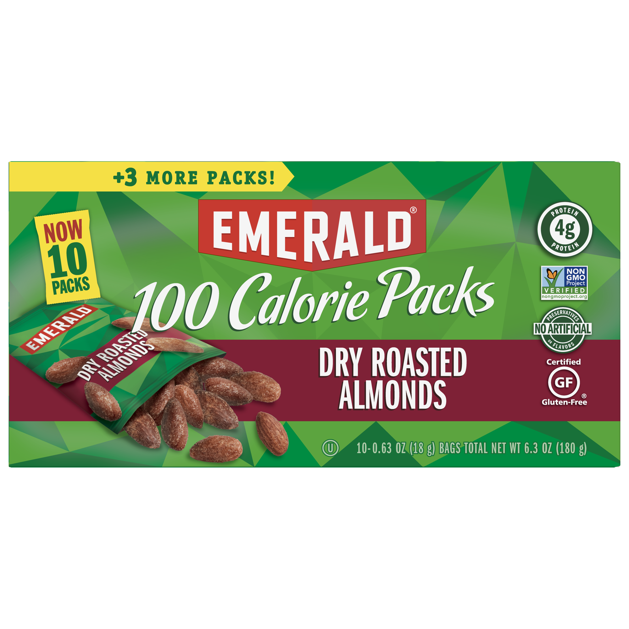 Emerald 100 Calorie Pack Dry Roasted Almonds, 0.63 Oz., 10 Count