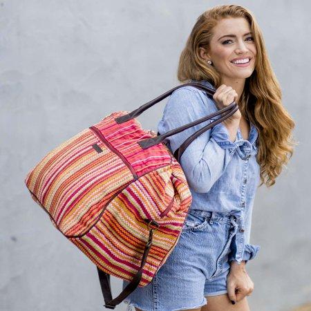 - Tomato Red Beach Handbags Tabitha Weekender Cotton Antique Brass Hardware Canvas Striped Overnight Bag