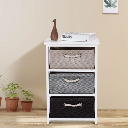 Gymax Wooden Nightstands 3 Weaving Baskets Chest Table Storage Organizer Side Table ()