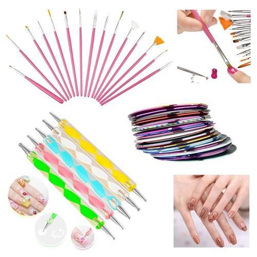 Zodaca 20 pcs Nail Art Dotting Drawing Pink Brush Pen + 30 Mixed Colors Rolls Tape Line