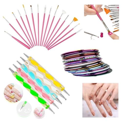 Zodaca 20 pcs Nail Art Dotting Drawing Pink Brush Pen + 30 Mixed Colors Rolls Tape Line