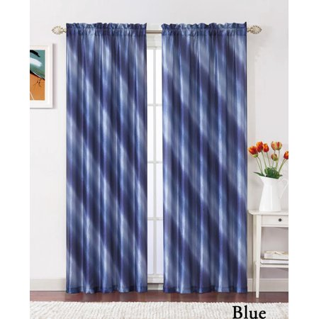 Blue Taffeta (Single (1) Blue Crushed Taffeta Window Curtain Panel: 55