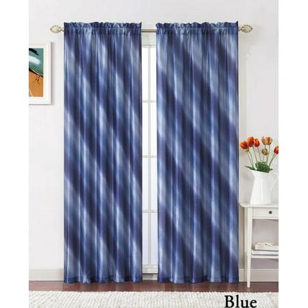 Single (1) Blue Crushed Taffeta Window Curtain Panel: 55