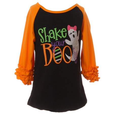 Toddler Girls Ruffle Sleeve Raglan Shake Your Botty Halloween Party T-shirt Top Orange 2T XS (P201361P) - Girls Halloween Top