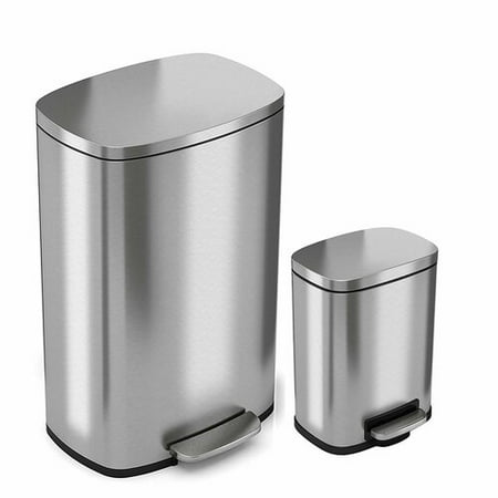 iTouchless SoftStep Combo Pack 13.2 Gal & 1.32 Gal Stainless Steel Step Trash Can with Odor Filter & Inner Bucket Trash Can Odor