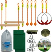 VEVOR 36Ft Ninja Line Slackline with Gym Rings, Monkey Bars, Rope Knots, Portable Outdoor Ninja Course Training Equipment Set