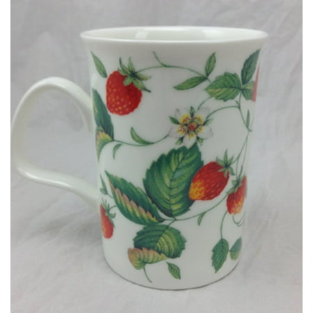 Alpine Strawberry (lancaster) Mug - R, Imported fine English bone china. By Roy Kirkham
